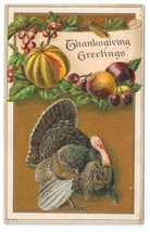 Vintage Thanksgiving Postcard Embossed Litho Turkey Gourd and Fruits ca ... - $5.70