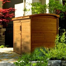 Outdoor Wood Storage Shed Horizontal Trash Can Bag Organizer Garden Bin ... - $326.59