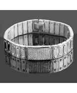 4.90 Ct Men's ID Screw Link Real Diamond Bracelet 14k Solid White Gold 5... - $7,034.83