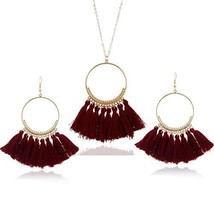 Tassel Necklace Set Women Long Necklace Earring Set Bohemian Necklace Boho Acces