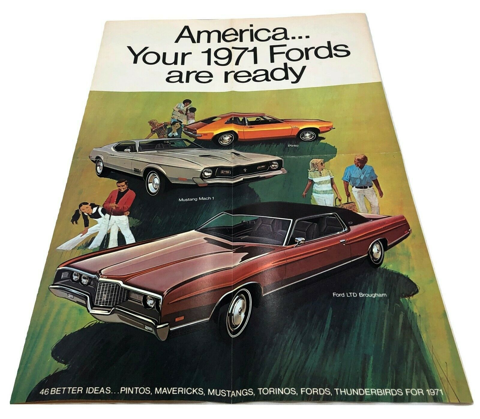1971 Ford Fold Out Poster Sales Brochure Buyer's Guide Dealer Car Advertising - $11.88