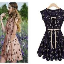 Fashion Printed Ruffled Sleeveless Mini Dress - $22.00