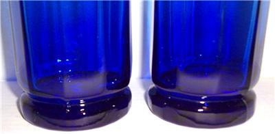Vintage (2) Large Anchor Hocking Pressed Designed Cobalt Blue Color Glasses Tumb