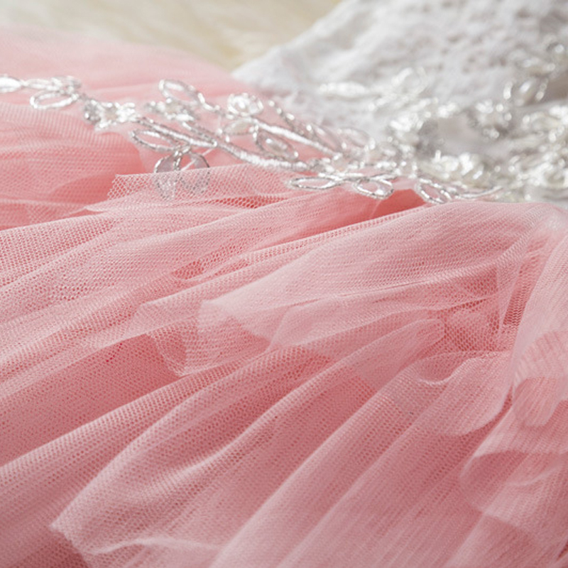 Newly Pink Skirts Wedding Flower Girl Dress Lace Pealrs Formal Bridesmaid Gowns