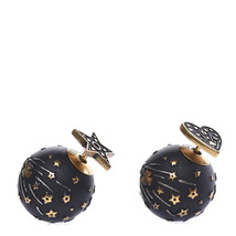 AUTHENTIC CHRISTIAN DIOR Metal Star Heart Earrings Black Gold image 2