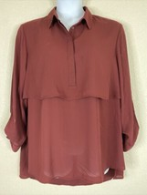 Cato Womens Plus Size 2X Maroon Layered Blouse 3/4 Sleeve Button Neck - $11.88