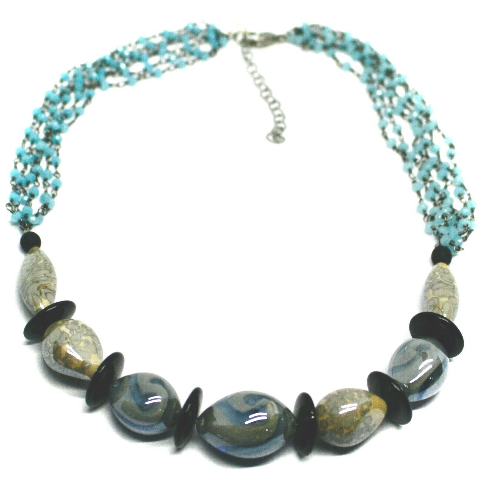 """NECKLACE BLACK, BLUE SPOTTED DROP OVAL MURANO GLASS 45cm 18"""", MADE IN ITALY"""