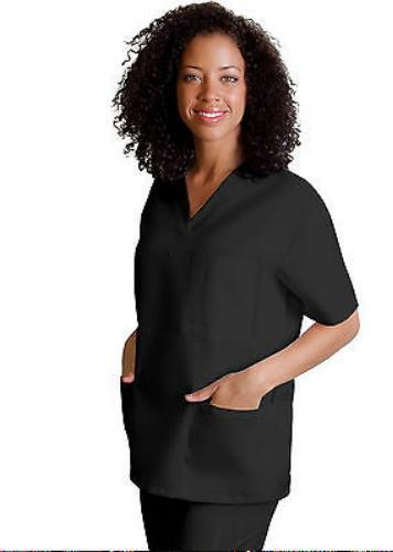 Scrub Set Black Unisex 3XL Adar Uniforms V Neck Top Drawstring Pants Blend New