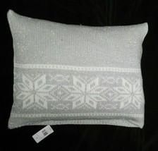 Ralph Lauren Mariel silver grey knit Snowflake Throw Pillow $215 rare li... - $126.17