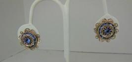 Gold Tone & Blue Rhinestone Earrings - $7.91