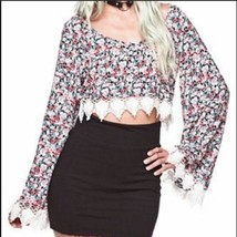 Gypsy Warrior Floral Crochet Lace Crop Top Bell Sleeves - Size XS - $19.39