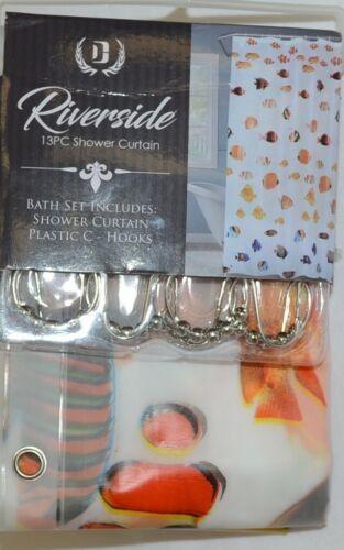 Riverside Thirteen Piece Shower Curtain Clear Assorted Fish Pattern