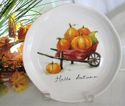 "4x Pier 1 Hello Autumn Pumpkins Gourds Salad Plates Lunch Dessert Ironstone 9"" - $47.49"