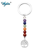 Ayliss 2017 Latest Style 1pc Tree of Life Keychain 7 Chakra Beads Natura... - $18.71