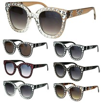 Womens Heart Foil Jewel Engraving Thick Plastic Horn Rim Fashion Sunglasses - $9.95