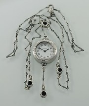 Fossil Vintage Necklace Silver White Stainless Steel Easy Read Quartz Watch - $28.66
