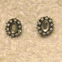 Rhinestone Pierced Earrings Japanned Finish Hypo Allergenic Studs ✿ Vint... - $15.79