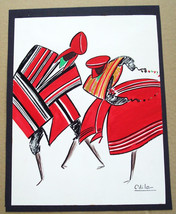 "Artist Odile  Untitled  ""The Dancers"" Hand Painted Gouache Art - $199.99"