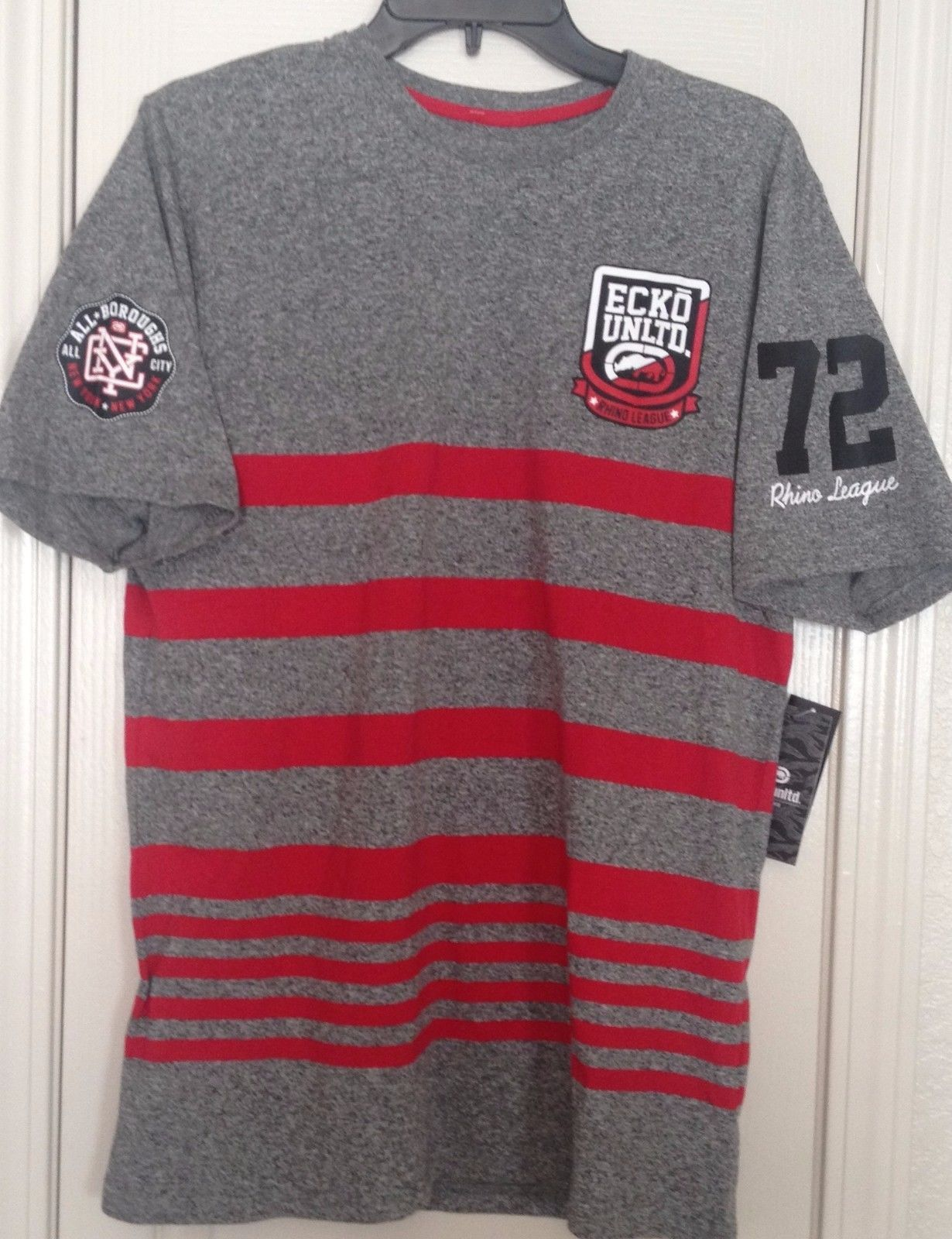 56a038a72 57. 57. Previous. Ecko Unlimited Men's Short Sleeve Red Gray Striped Tee  Shirt Size M