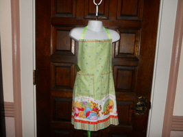 Child Lined Cotton Apron w/Pockets-Winnie the Pooh (Green) - Child Large (8-10) - $12.99