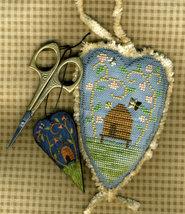Bee Happy cross stitch chart charm Homespun Elegance - $6.75