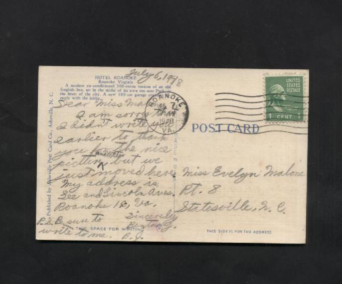 Vintage Postcard 1948 Hotel Roanoke VA Linen Virginia 1940s