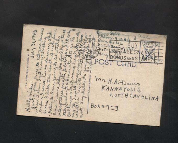 Vintage Linen Postcard 1942 Johns Hopkins Hospital Baltimore MD