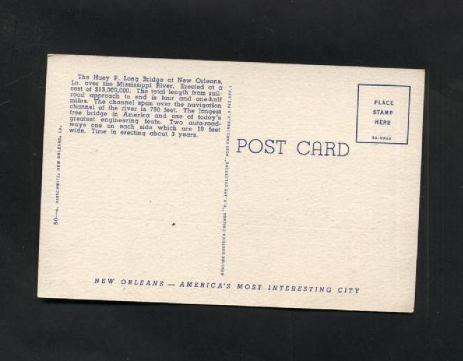 Vintage Linen Postcard Trains Bridges Boats LA New Orleans Huey P. Long