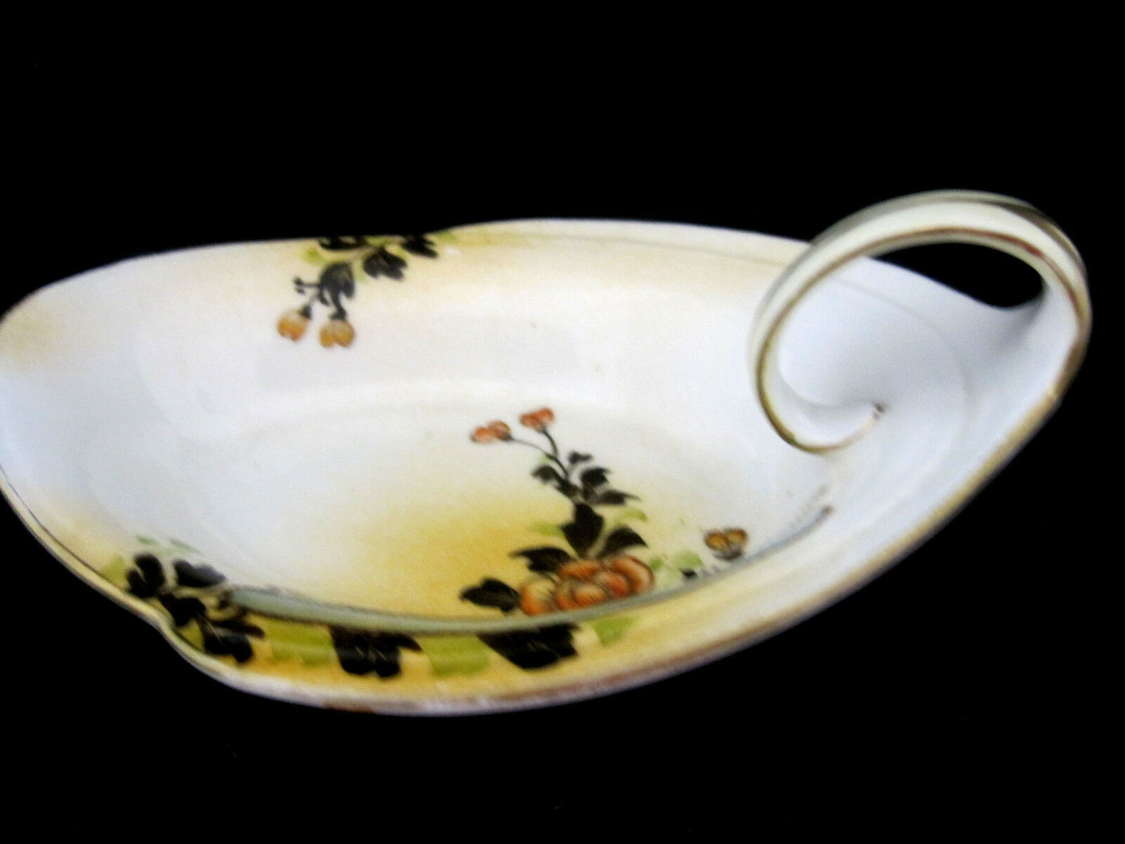 Nippon Candy Nut Dish Hand Painted Finger Loop Handle White Gold Porcelain  - $28.95