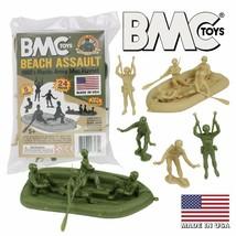 BMC Marx Plastic Army Men Beach Assault - Green vs Tan 24pc WW2 US Soldi... - $18.99