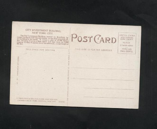 Vintage Postcard 1912 Finkelstein Art Series City Investment Building NY