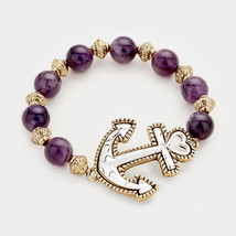 Purple & Silver Anchor beaded stretch bracelet - ₨1,168.69 INR