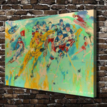 "Leroy Neiman ""Hockey Game"" HD Print on canvas large wall picture 36x24"" - $53.45"