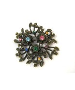 Vintage costume jewelry Rhinestones Flower Brooch - $15.00