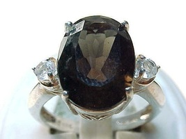 Vintage Genuine SMOKY TOPAZ and Cubic Zirconia RING in STERLING  - Size ... - $70.00