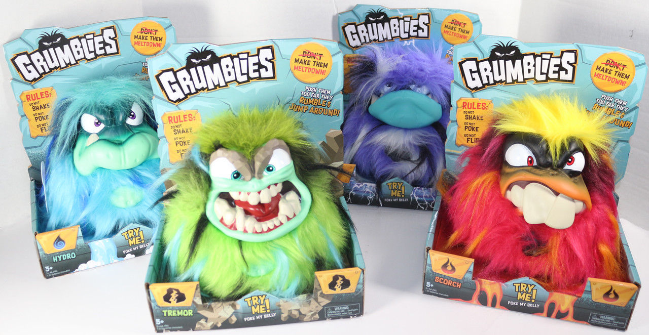 Pomsies GRUMBLIES LOT OF 4 BOLT HYDRO SCORCH TREMOR Angry POKE SHAKE TOYS HOT
