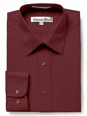 Giovanni Uomo Men's Classic Fit Burgundy Button Up Long Sleeve Dress Shirt  - L