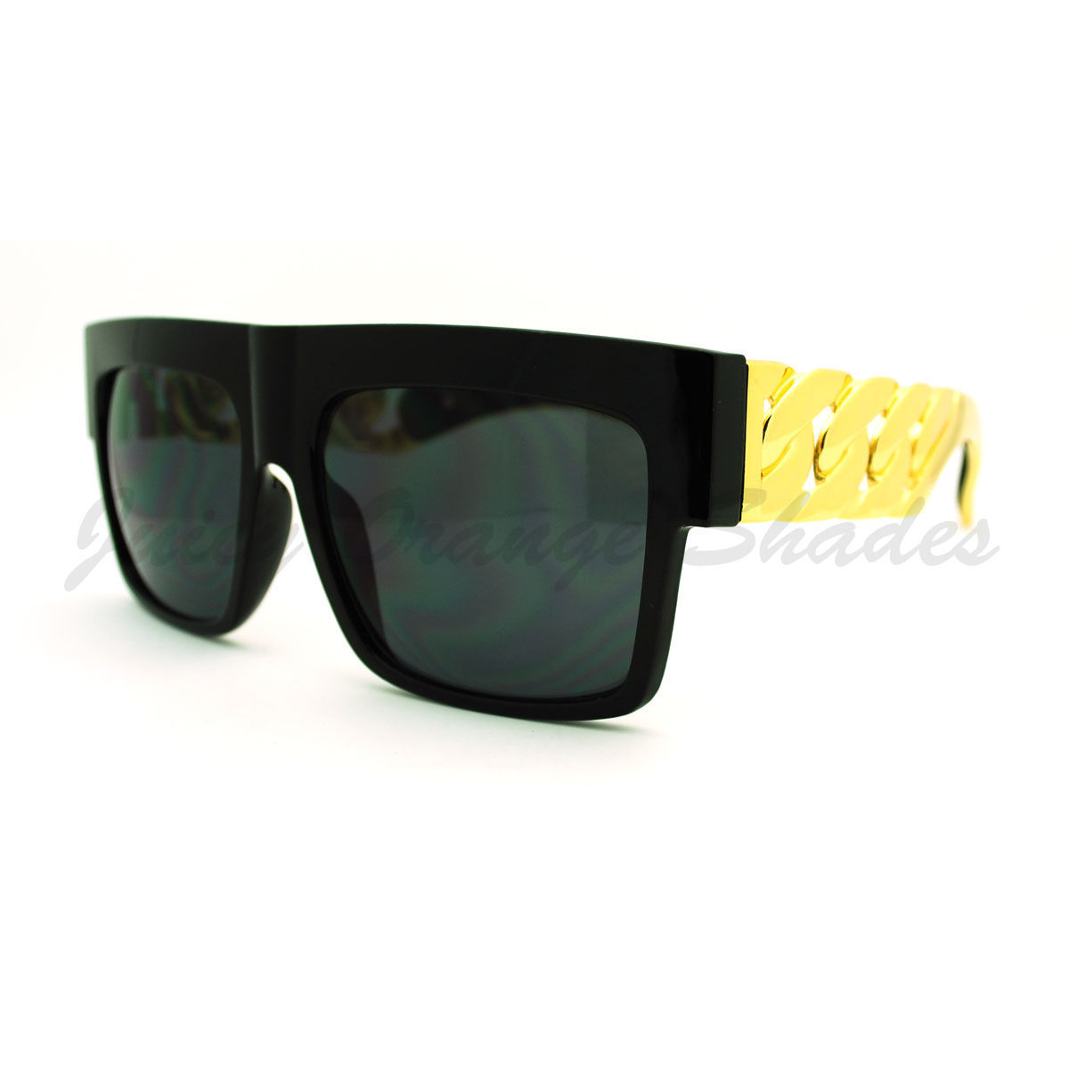 Designer Fashion Sunglasses Bold Flat Top Thick Gold Chain Frame