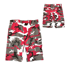 Men's Tactical Military Army Red Camo Camouflage Slim Fit Cargo Shorts - 36