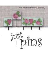 Hearts and Flowers JP164 set 5 for pincushions JABC Just Another Button Co - $13.95