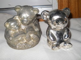Set of 2 Teddy Bear Silver Plated Banks Mom Baby Reading Book Metal Bott... - $29.37