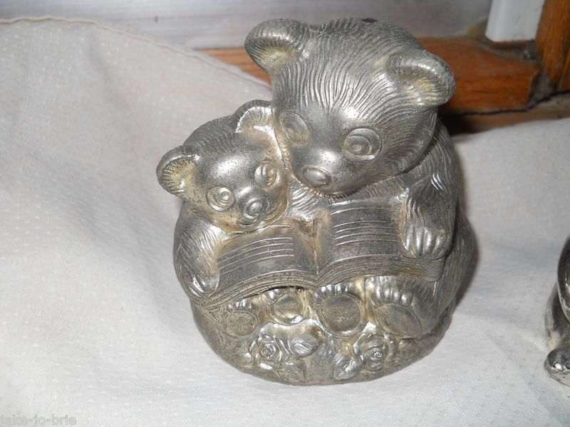 Set of 2 Teddy Bear Silver Plated Banks Mom Baby Reading Book Metal Bottom Heavy
