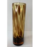 "Amber Leopard Tortoise Shell Hand Blown Vase 9.5 ""Tall Vintage Art Glass - $17.82"