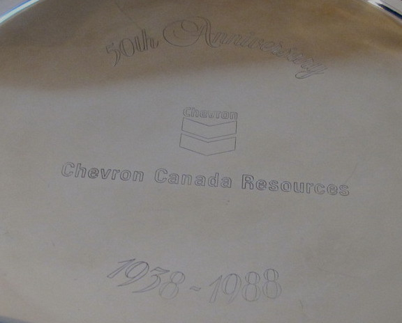 Chevron Gas Souvenir Collector Plate Tray Canada Resources 50 Anniversary