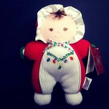 "Soft Dreams Merry Christmas Rattle Doll 8"" Red White Brunette Plush Stuf... - $21.24"