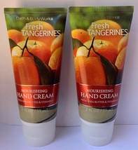 Bath and Body Works FRESH TANGERINES Nourishing Hand Cream Lotion Lot 2 oz x2 - $24.70
