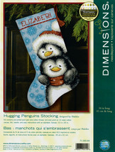 "Dimensions Stocking Needlepoint Kit 16"" Long Hugging Penguins Stitched Wool - $27.73"