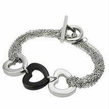 Stainless Steel Bracelet with Steel & Black PVD Hearts - $36.59
