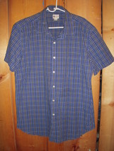 "New! J Crew Blue Plaid Short Sleeve Button down shirt NICE! 46"" chest - $9.99"