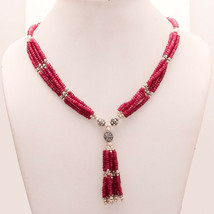 Natural African Ruby 925Sterling Silver Beaded Necklace Vintage Bohemian... - $96.07